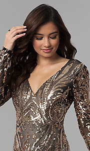 Image of long-sleeve short sequin homecoming dress. Style: JOJ-JE-18559 Detail Image 1