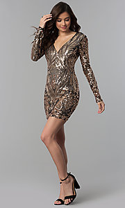 Image of long-sleeve short sequin homecoming dress. Style: JOJ-JE-18559 Detail Image 3