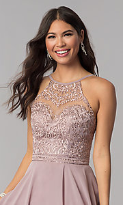 Image of high-neck hoco dress by PromGirl with embroidery. Style: DQ-PL-3008 Detail Image 1