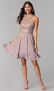 Image of high-neck hoco dress by PromGirl with embroidery. Style: DQ-PL-3008 Detail Image 2