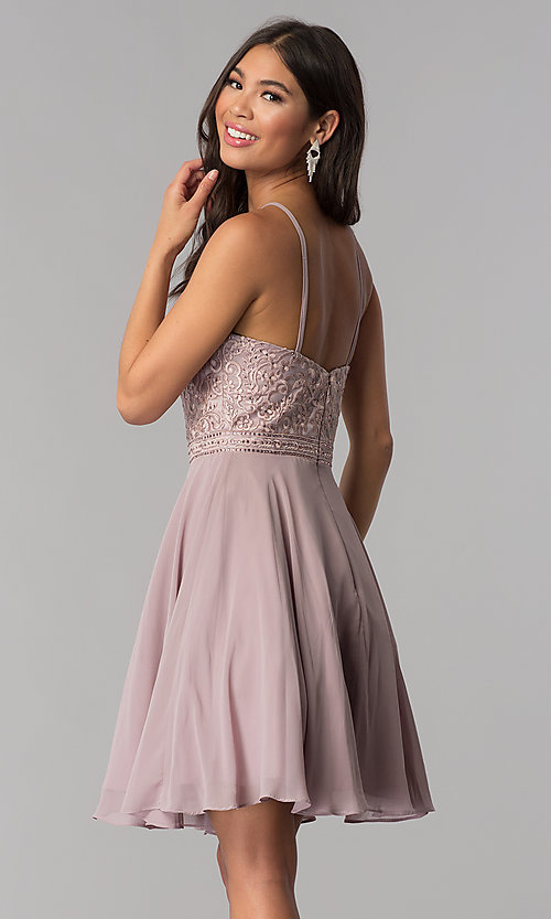 Image of high-neck hoco dress by PromGirl with embroidery. Style: DQ-PL-3008 Back Image