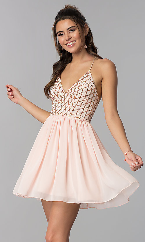 Image of short sequin-bodice v-neck party dress in rose gold. Style: MCR-2600 Front Image