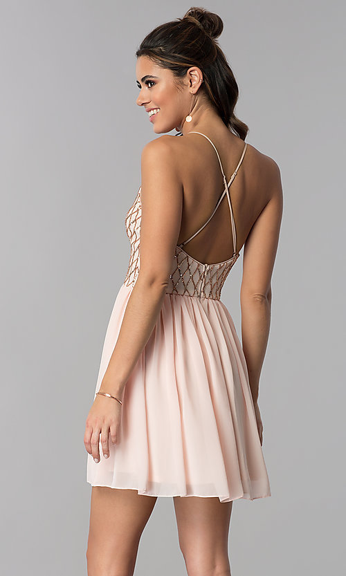 Image of short sequin-bodice v-neck party dress in rose gold. Style: MCR-2600 Back Image