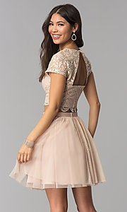 Image of two-piece rose gold homecoming dress with sequins. Style: FLA-37515 Back Image