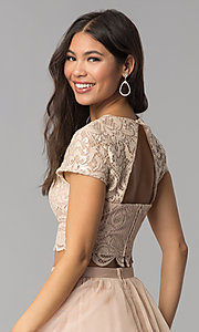 Image of two-piece rose gold homecoming dress with sequins. Style: FLA-37515 Detail Image 2
