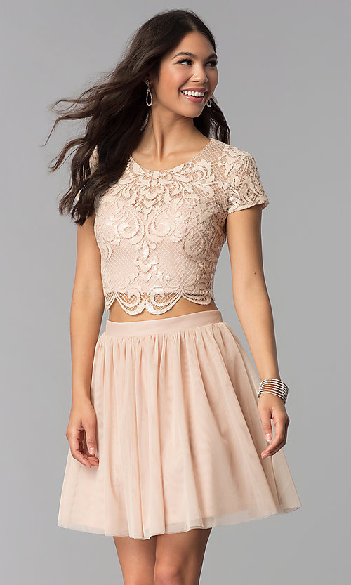 Image of two-piece rose gold homecoming dress with sequins. Style: FLA-37515 Front Image