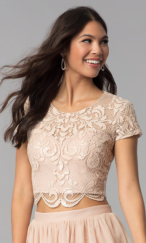 Image of two-piece rose gold homecoming dress with sequins. Style: FLA-37515 Detail Image 1