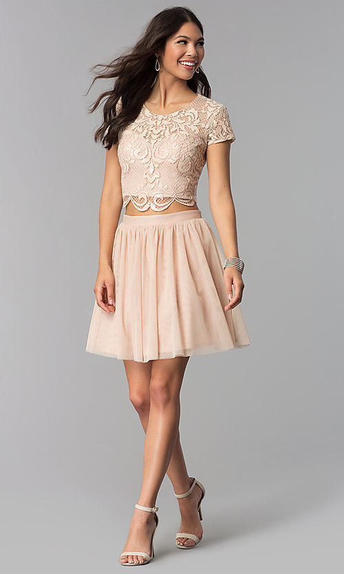 Image of two-piece rose gold homecoming dress with sequins. Style: FLA-37515 Detail Image 3
