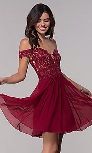 Image of off-shoulder lace-bodice Faviana homecoming dress. Style: FA-10155 Front Image