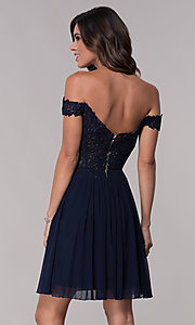 Image of off-shoulder lace-bodice Faviana homecoming dress. Style: FA-10155 Detail Image 3