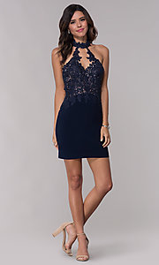 Image of racer-front short Faviana homecoming dress. Style: FA-10156 Detail Image 3