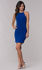 Image of short jersey homecoming dress with back straps. Style: FA-S10166 Detail Image 2