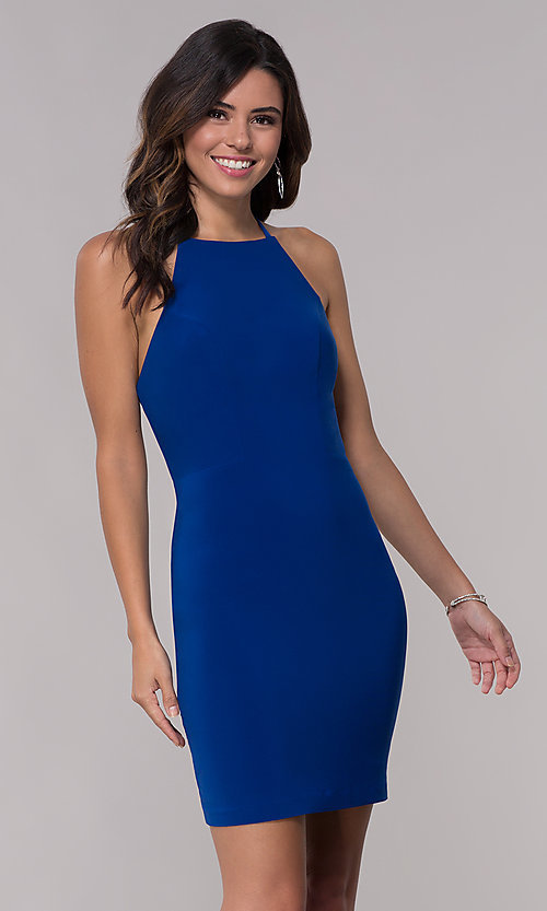Image of short jersey homecoming dress with back straps. Style: FA-S10166 Back Image