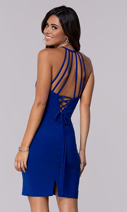 Image of short jersey homecoming dress with back straps. Style: FA-S10166 Front Image