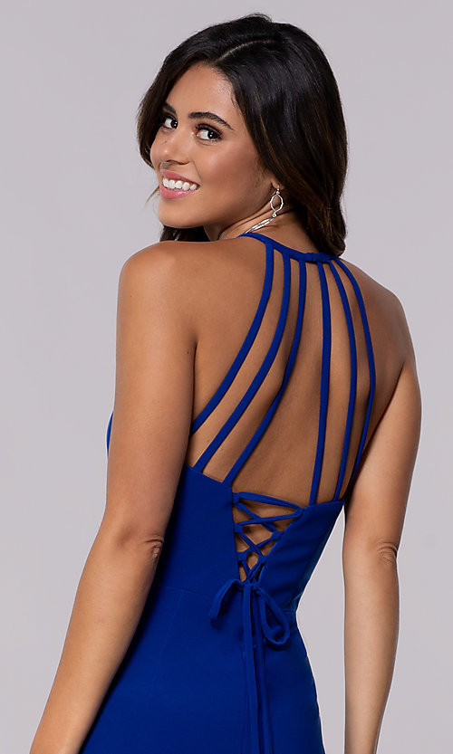 Image of short jersey homecoming dress with back straps. Style: FA-S10166 Detail Image 1