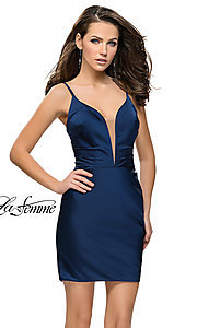 Image of v-neck satin homecoming dress by La Femme. Style: LF-26722 Front Image