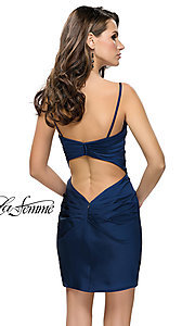 Image of v-neck satin homecoming dress by La Femme. Style: LF-26722 Back Image