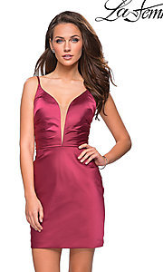 Image of v-neck satin homecoming dress by La Femme. Style: LF-26722 Detail Image 2