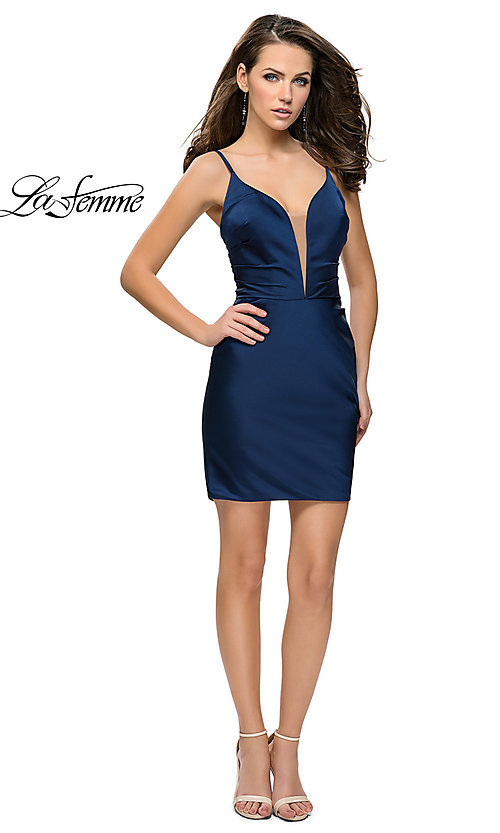Image of v-neck satin homecoming dress by La Femme. Style: LF-26722 Detail Image 1
