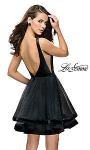 Image of short fit-and-flare homecoming dress by La Femme. Style: LF-26701 Back Image