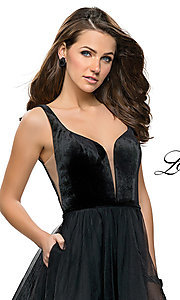 Image of short fit-and-flare homecoming dress by La Femme. Style: LF-26701 Detail Image 1
