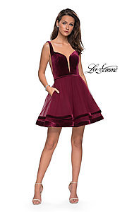 Image of short fit-and-flare homecoming dress by La Femme. Style: LF-26701 Detail Image 4