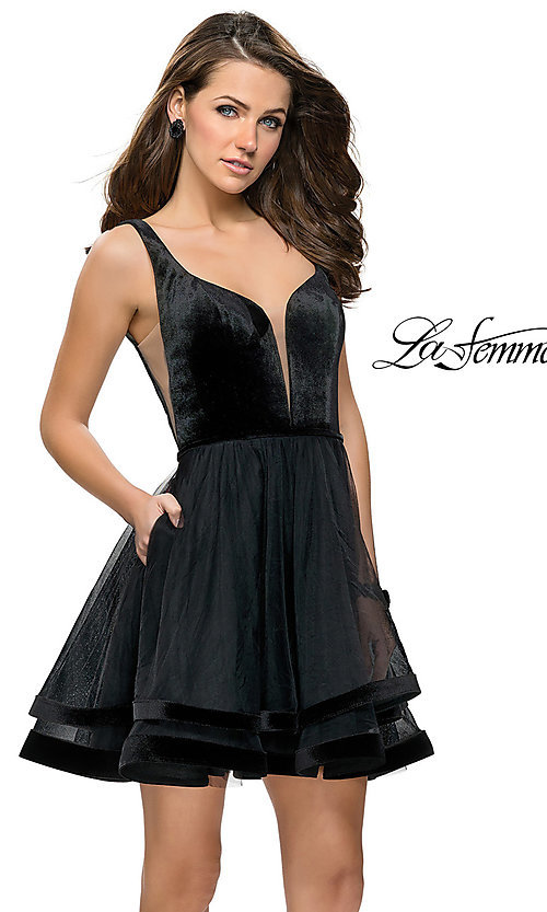 Image of short fit-and-flare homecoming dress by La Femme. Style: LF-26701 Front Image