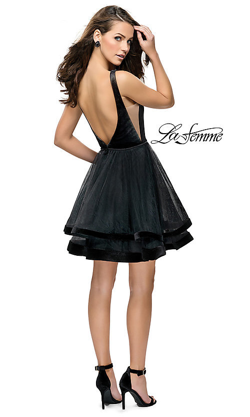 Image of short fit-and-flare homecoming dress by La Femme. Style: LF-26701 Detail Image 2