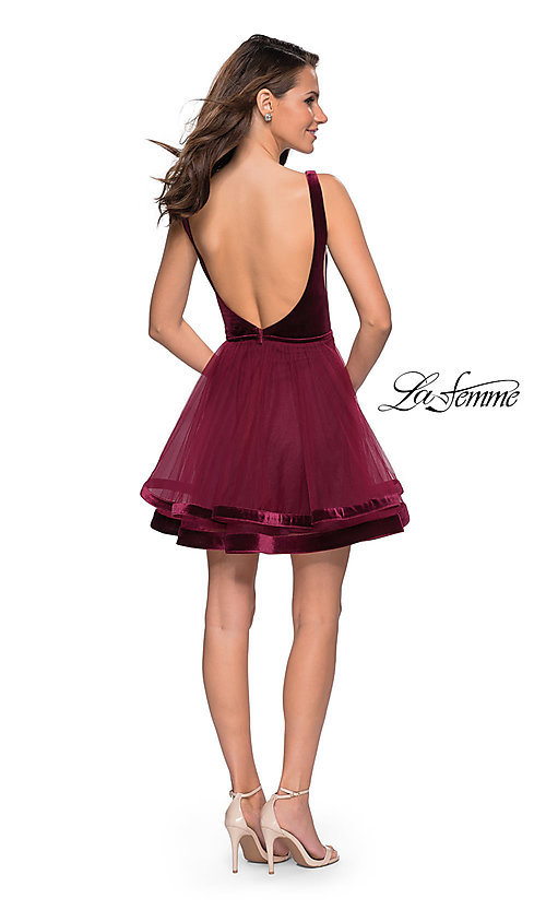 Image of short fit-and-flare homecoming dress by La Femme. Style: LF-26701 Detail Image 5