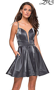 Image of satin sweetheart homecoming dress by La Femme. Style: LF-26659 Detail Image 2