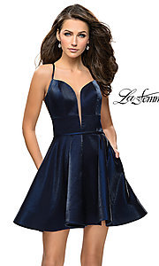 Image of satin sweetheart homecoming dress by La Femme. Style: LF-26659 Back Image