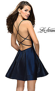 Image of satin sweetheart homecoming dress by La Femme. Style: LF-26659 Front Image