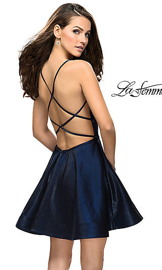 Satin Sweetheart Homecoming Dress by La Femme