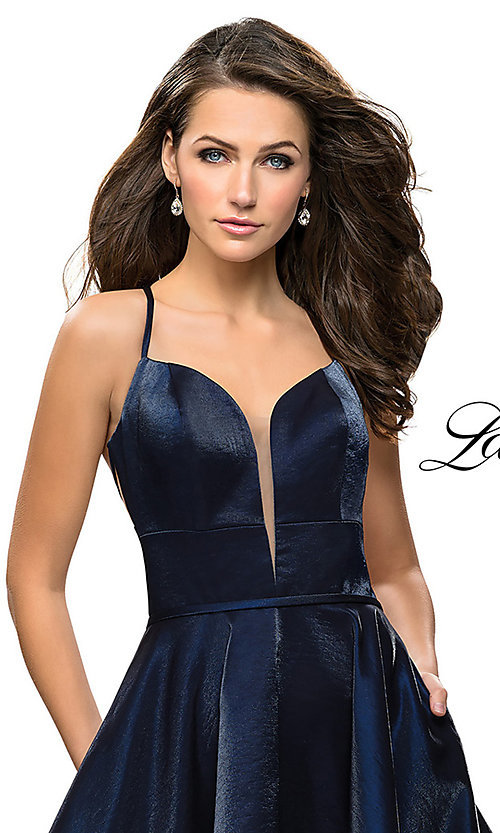 Image of satin sweetheart homecoming dress by La Femme. Style: LF-26659 Detail Image 1
