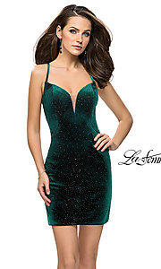 Image of short open-back homecoming dress with rhinestones. Style: LF-26620 Front Image