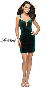 Image of short open-back homecoming dress with rhinestones. Style: LF-26620 Detail Image 1