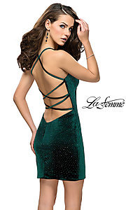Image of short open-back homecoming dress with rhinestones. Style: LF-26620 Detail Image 3