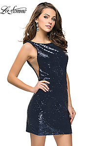 Image of short sequin scoop-neck La Femme homecoming dress. Style: LF-26614 Front Image