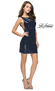 Image of short sequin scoop-neck La Femme homecoming dress. Style: LF-26614 Detail Image 2