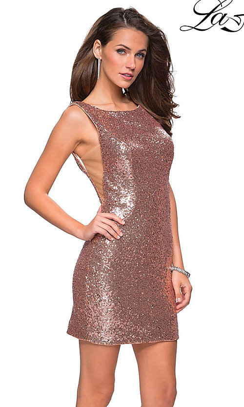Image of short sequin scoop-neck La Femme homecoming dress. Style: LF-26614 Detail Image 3