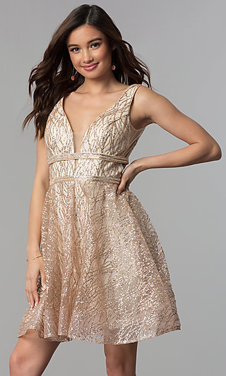 Nude V-Neck Short Glitter-Mesh Homecoming Dress