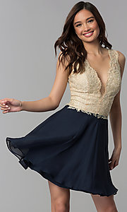 Image of embroidered-lace v-neck short homecoming dress. Style: NC-206 Front Image