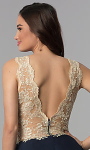 Image of embroidered-lace v-neck short homecoming dress. Style: NC-206 Detail Image 2