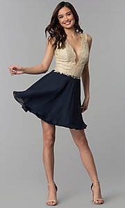 Image of embroidered-lace v-neck short homecoming dress. Style: NC-206 Detail Image 3