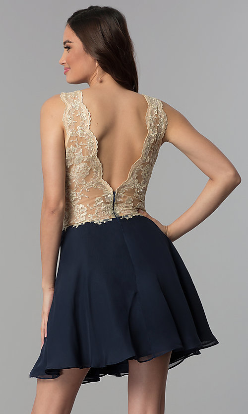 Image of embroidered-lace v-neck short homecoming dress. Style: NC-206 Back Image