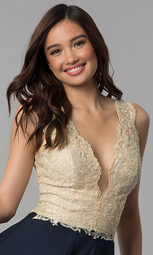 Image of embroidered-lace v-neck short homecoming dress. Style: NC-206 Detail Image 1