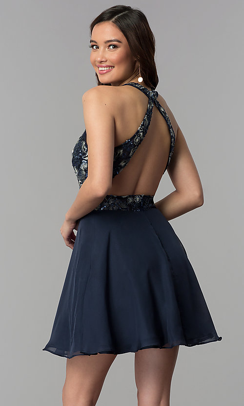 Image of short v-neck embroidered-bodice homecoming dress. Style: NC-215 Back Image