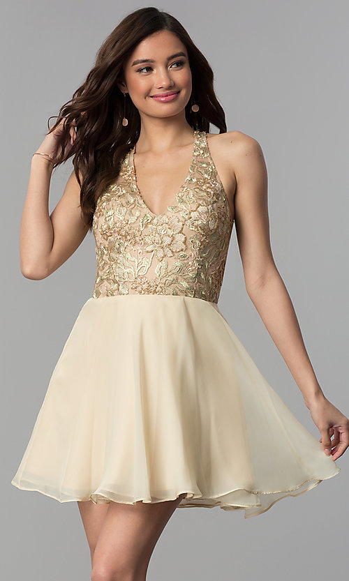 Image of short v-neck embroidered-bodice homecoming dress. Style: NC-215 Detail Image 3