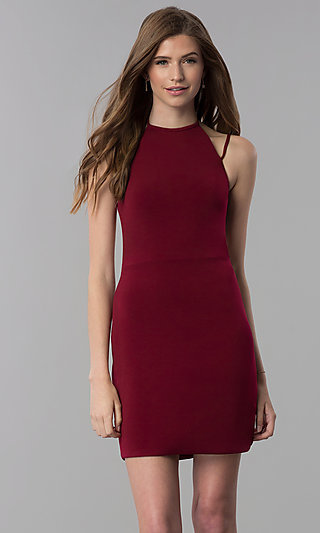 High-Neck Mock-Halter Short Homecoming Dress