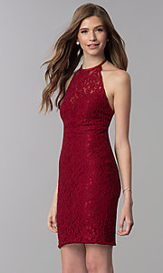 Image of short lace open-back halter homecoming dress. Style: NC-207 Front Image